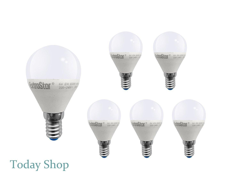 6 Pack] Bombilla LED E14, 6 W a 48 W, luz amarilla/cálida 3000 K ...