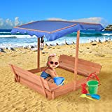 MD Group Sandbox Retractable Wooden Children Outdoor Bench with Canopy Seat