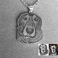 Dog Photo necklace,Engraved Pet Customized Dogs Personalized Silver Jewelry Picture Pendant Gifts In Memory Handmade Mother's Birthday Christmas Girlfriend Dog lover gift