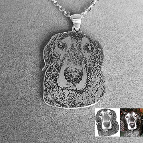 Dog Photo necklace, Engraved Pet Customized Dogs Personalized Silver Jewelry Picture Pendant Gifts In Memory Handmade Mother's Birthday Christmas Girlfriend Dog lover gift