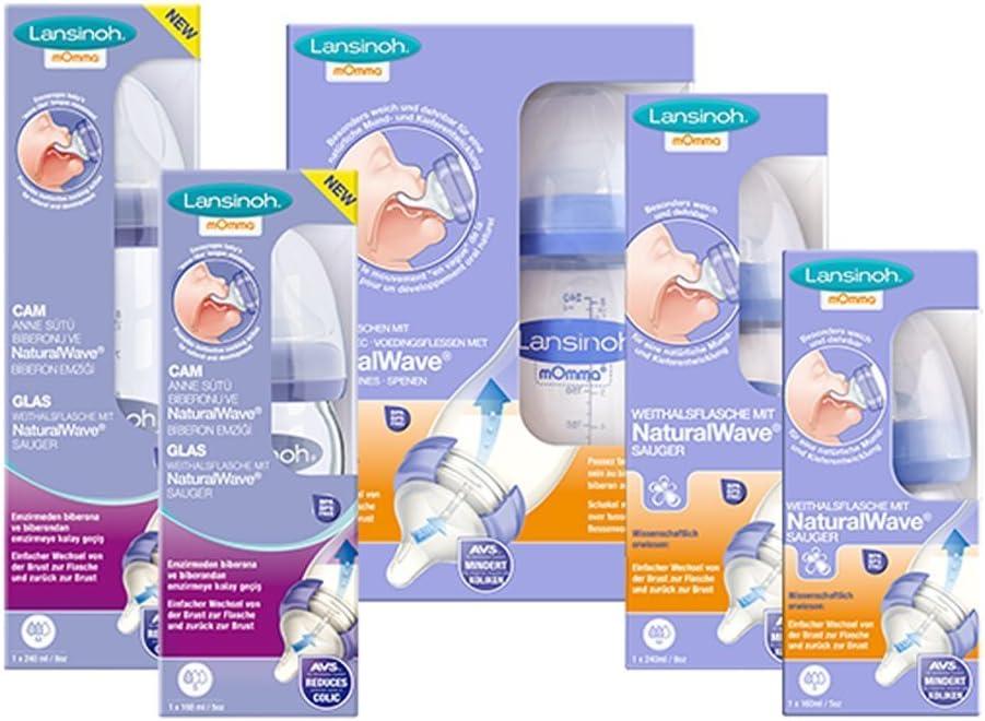 Lansinoh Breast Milk Feading Pack mois 160ml 2 PP biberon 160ml de Conservation du Lait Maternel 2 biberon en verre 0