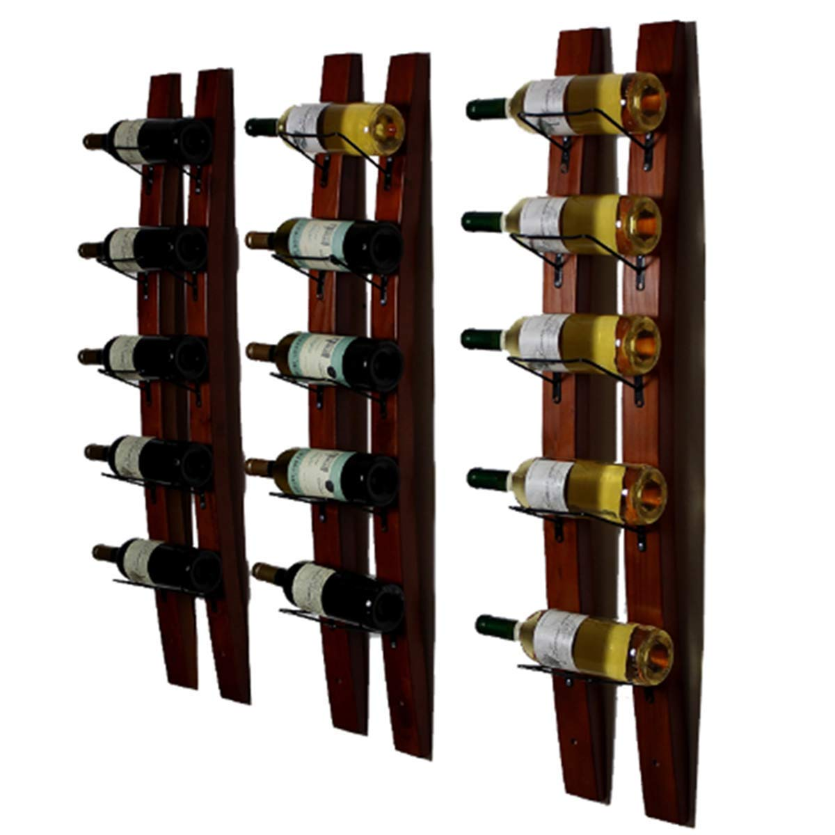 DCIGNA Wall Mounted Wine Rack, Barrel Stave Wine Rack, Wooden Wine Bottle Holder Rack, Imported Pine Wood and Metal - 6 Bottles 40x7.6inch (Red Wine Color)
