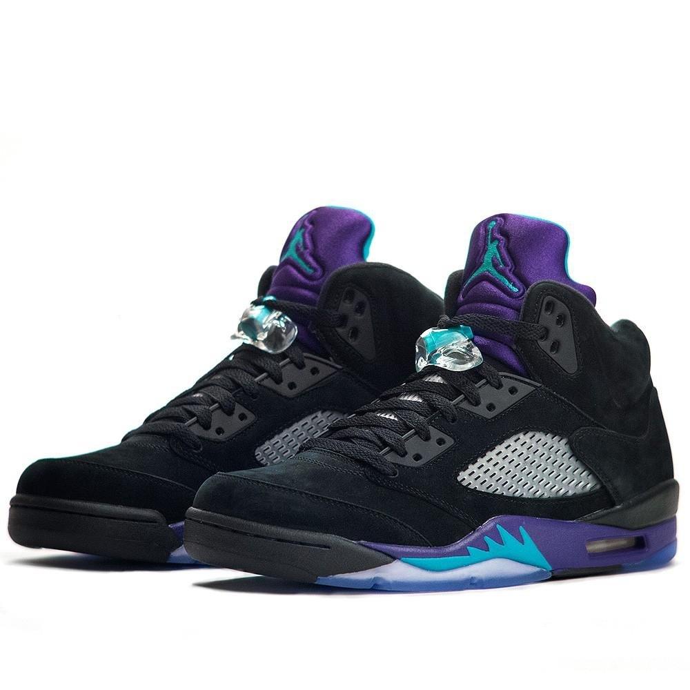the latest bc595 cea7e Galleon - Nike Air Jordan Retro 5 Black Grape Emerald Men Size 14