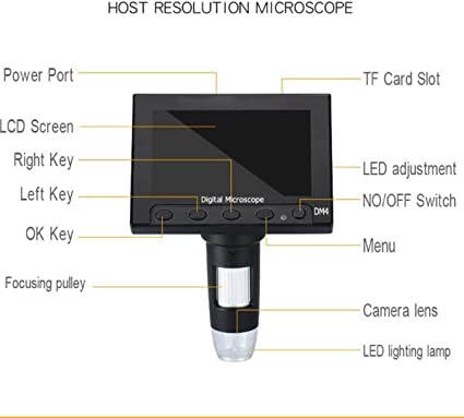 SHIJING 1000x 2.0MP USB Digital Electronic Microscope DM4 4.3 LCD Display VGA Microscope with 8 LED Stand for PCB Motherboard Repairing