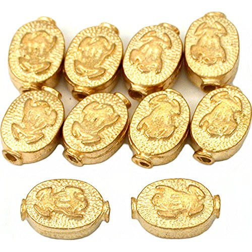 15g Fluted Flat Oval Frog Beads Gold Plt 11mm Approx 10