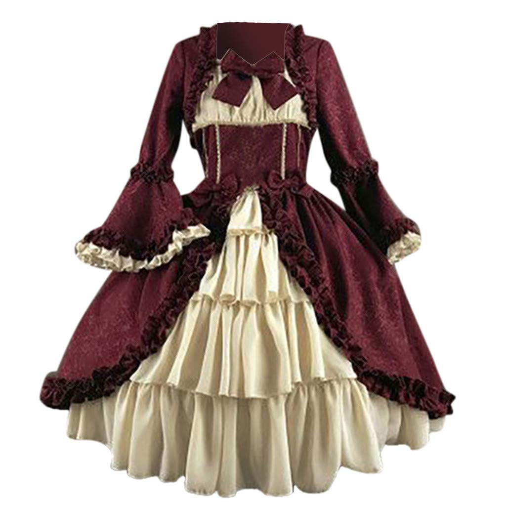 Women's Royal Vintage Medieval Dresses Long Sleeves Bowknot Lolita Princess Dress Gothic Gown (L, Wine Red) by sweetnice Women Dresses