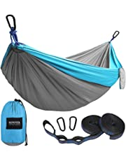 Kootek Camping Hammock Portable Indoor Outdoor Tree Hammock with 2 Hanging Straps, Lightweight Nylon Parachute Hammocks for Backpacking, Travel, Beach, Backyard, Hiking