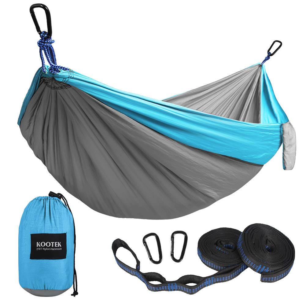 Kootek Camping Hammock Portable Indoor Outdoor Tree Hammock with 2 Hanging Straps, Lightweight Nylon Parachute Hammocks for Backpacking, Travel, Beach, Backyard, Hiking (Sky Blue/Grey, L) by Kootek