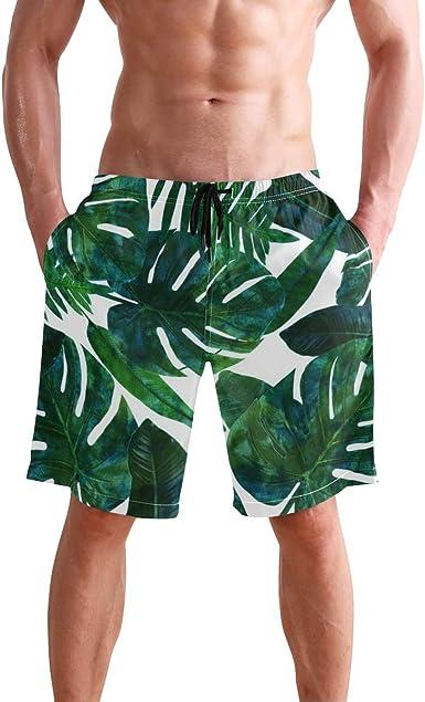 Women Swim Trunks Tropical Green Leaves Red Flower Beach Board Shorts