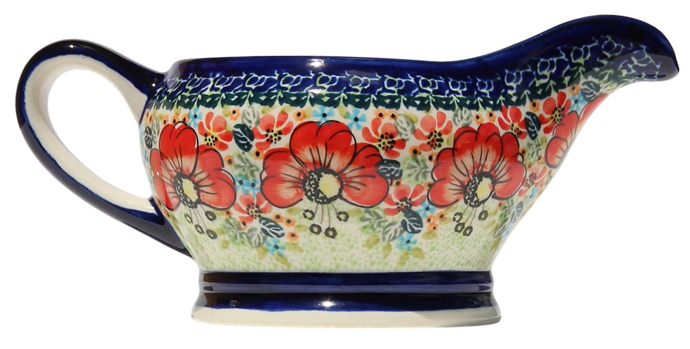 Polish Pottery Gravy Boat 16 Oz. From Zaklady Ceramiczne Boleslawiec #1258-296 Art Unikat Signature Pattern, Capacity 16 Oz.
