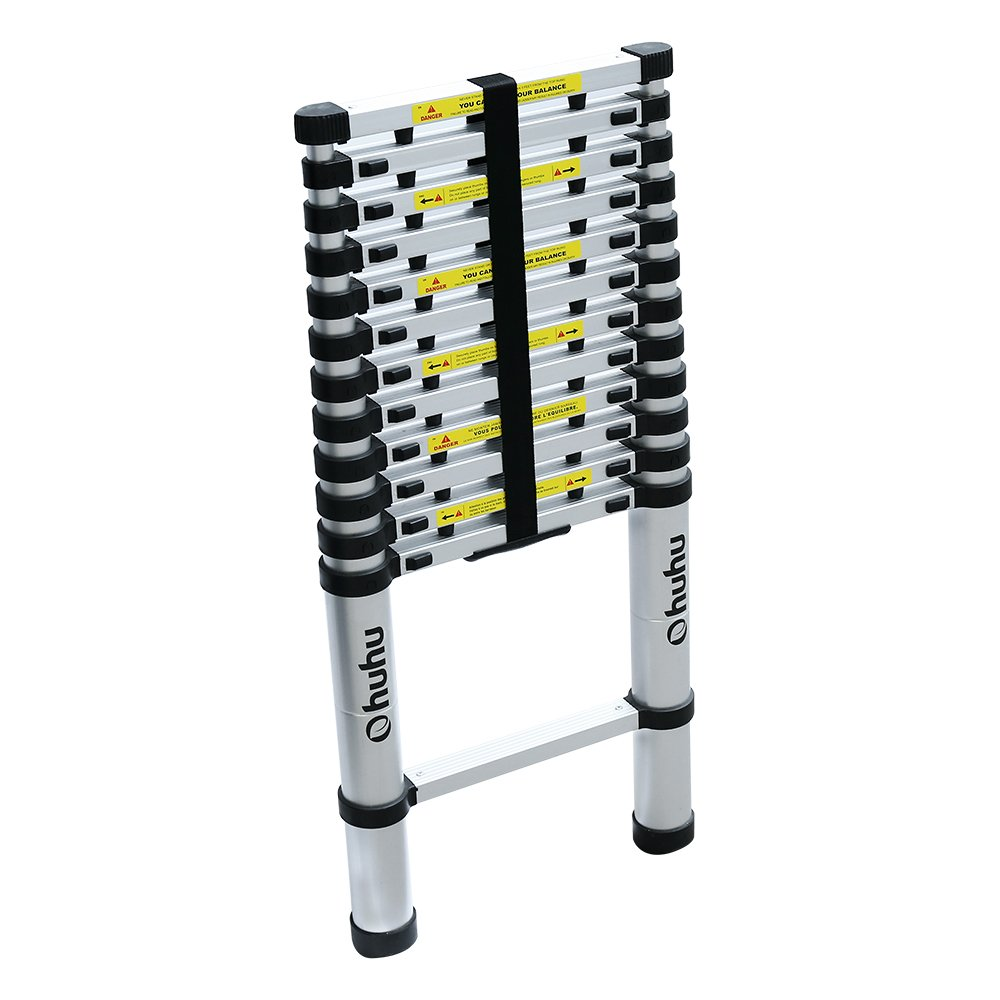 Ohuhu 12.5ft Aluminum Telescopic Extension Ladder, EN131 Certified Extendable Telescoping Ladder with Spring Loaded Locking Mechanism Non-slip Ribbing 330 Pound Capacity by Ohuhu (Image #8)
