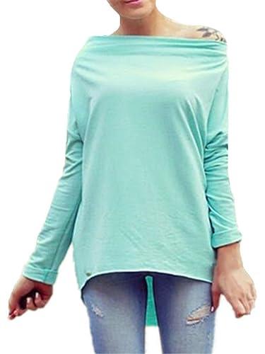 Gogofuture Mujer Camisa Irregular Con Manga Larga Camiseta Para Mujer Elegante Blusas T-Shirts Tops Sin Tirantes