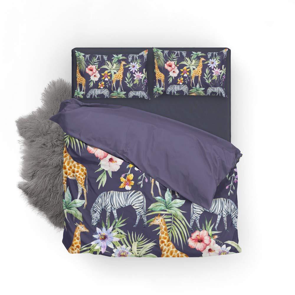Vantaso Bedding Set Queen Full Animal Giraffe Zebra Floral Leaves 1 Duvet Cover Set 2 Pillow Shams 3PCS Bedroom