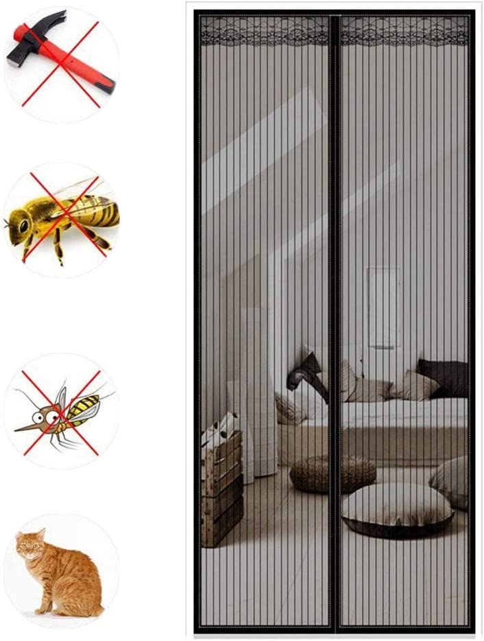 YNND Magnetic Fly Insect Screen Door,Flying Screen Door Fly Screen Insect Proof Waterproof Heavy Insect Net Curtain Powerful Magnet for Living Room Window Balcony Support Customization