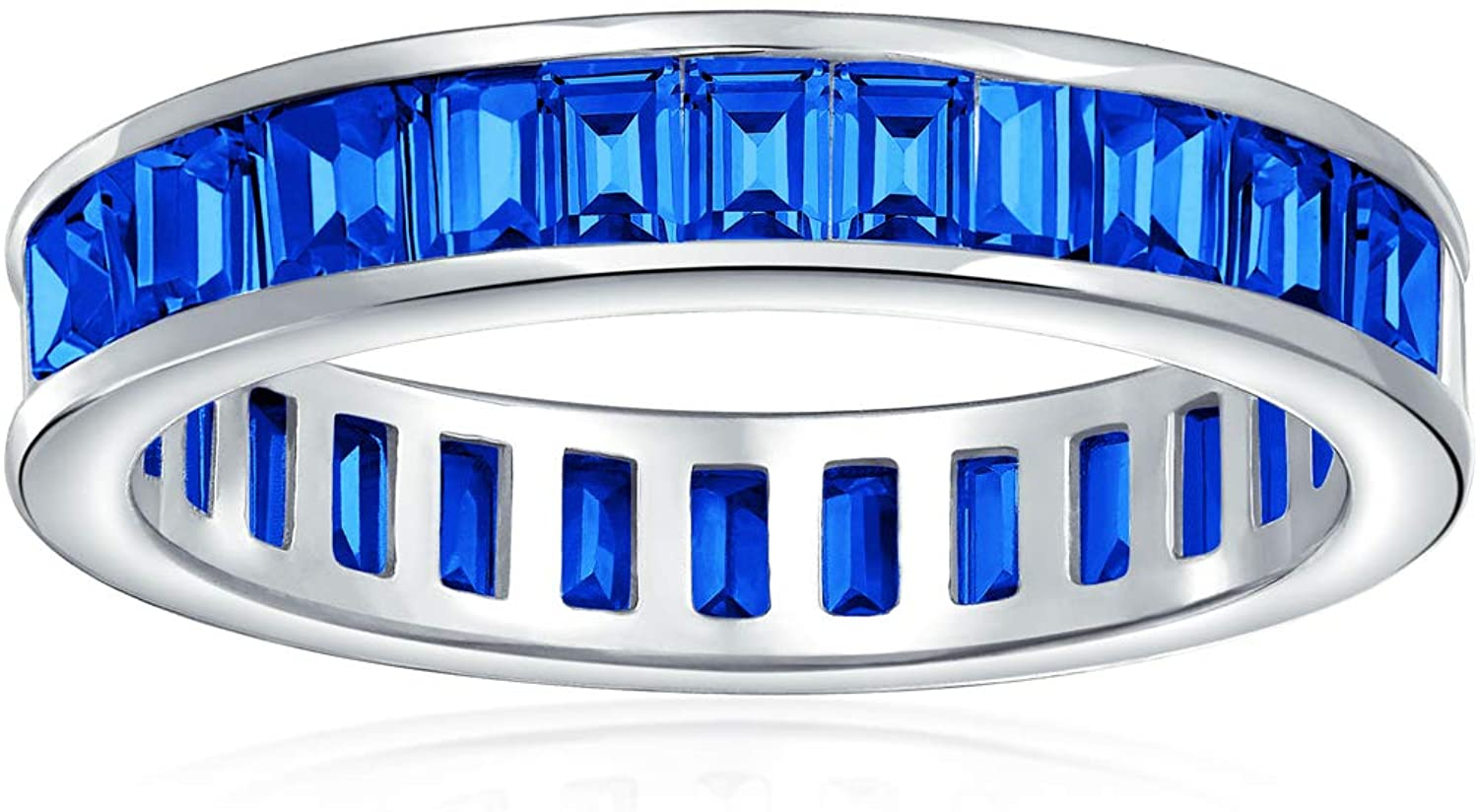 AAA Cubic Zirconia Jewel Multi Color Simulated Gemstone Channel Set Rectangle Emerald Cut Baguette CZ Eternity Ring Anniversary Wedding Band For Women 925 Sterling Silver 4MM Stackable Rings