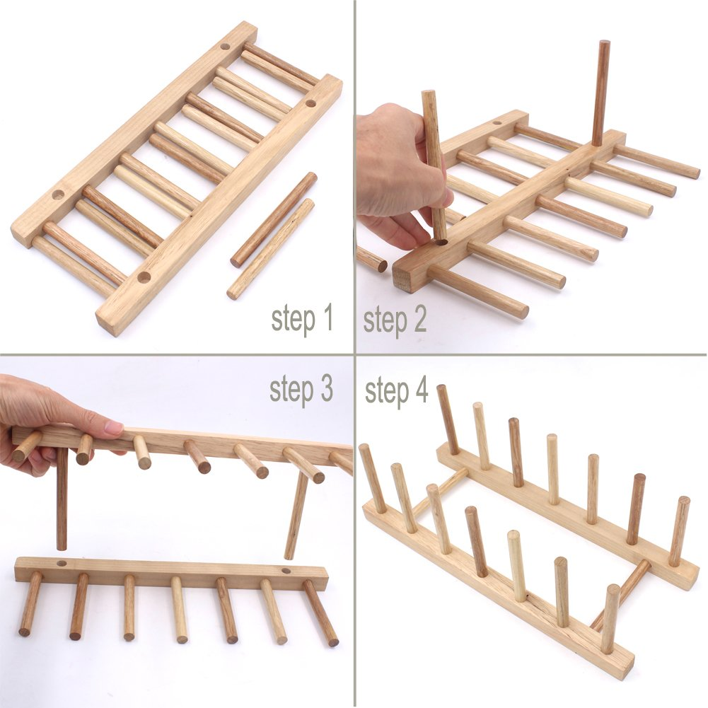 Zicome Set of 2 Bamboo Wooden Dish Rack Plate Rack Stand Pot Lid Holder Kitchen Cabinet Organizer by ZICOME (Image #3)