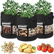 Potato Grow Bags,3 Pack 7 Gallon Plant Growing Bags Reusable Garden Vegetable Planter for Tomato, Carrot, Onio