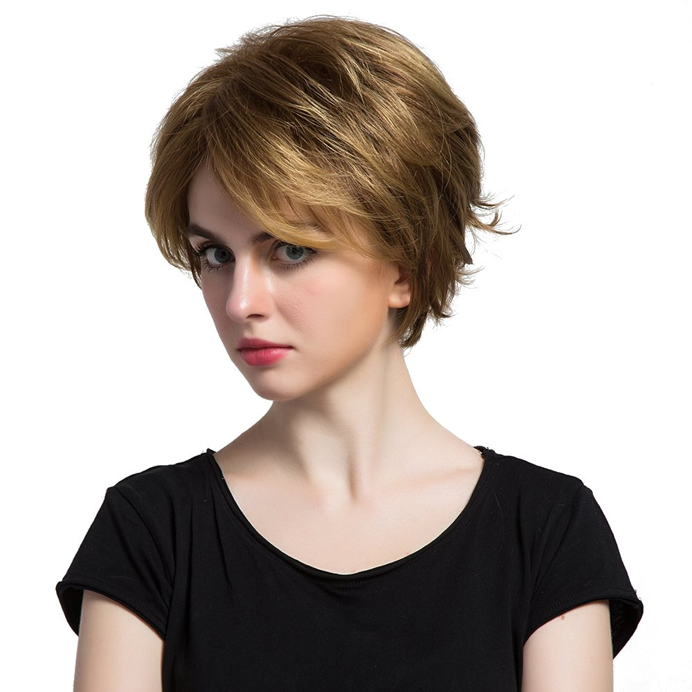 Segolike 28cm Women s Short Curly Fluffy Boy Cut Wigs Heat Resistant  Synthetic Hair Full Head Brown Wigs for Daily Costume Party Cosplay   Amazon.in  Beauty 2ac205396c