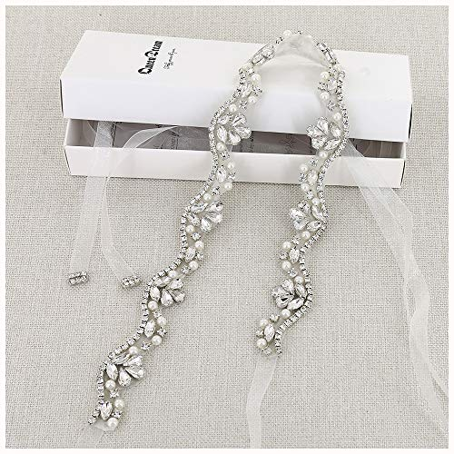 QueenDream Wedding Applique White Organza Bridal sash Silver Rhinestone Bridal sash lace Bridal sash Beaded Wedding Belt