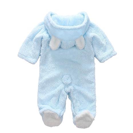 Decdeal Bebé Ropa Recién Nacido de Invierno Traje Animales Peleles Mameluco con Capucha Cálido Monos para