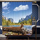 What Is the Width of a California King Bed Wanranhome Custom-made shower curtain Farm HouseYosemite Merced River El Capitan and Half Dome in California National Park Waterscape Green Blue For Bathroom Decoration 72 x 96 inches