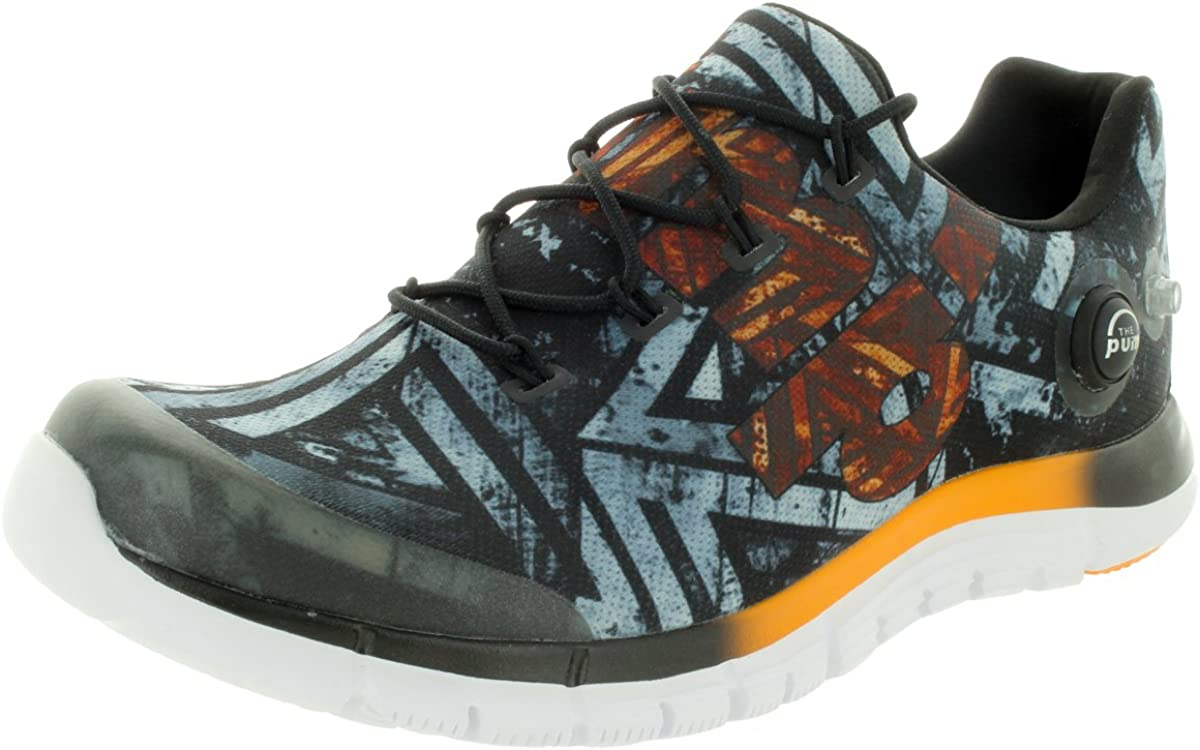 Reebok Men s Zpump Fusion Geo Black Orange White Running Shoes