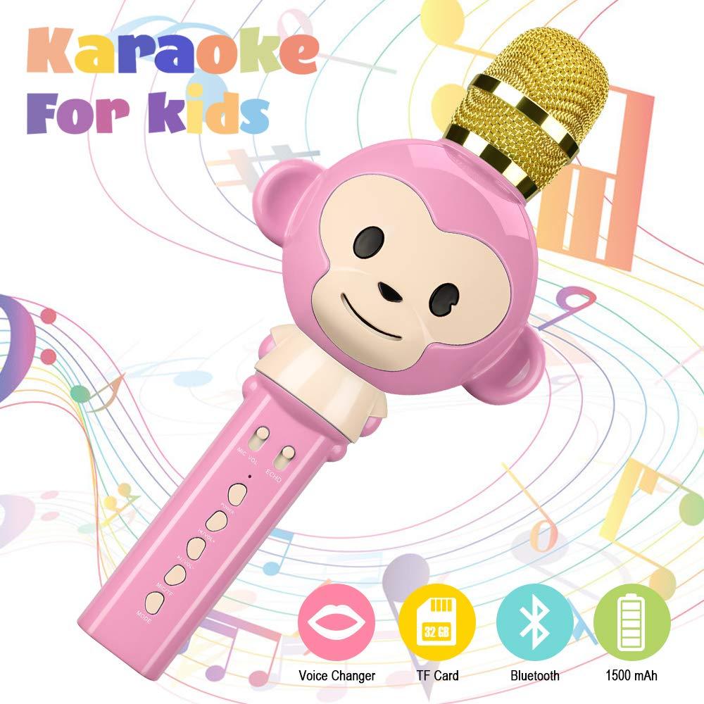 Microphone Karaoke,OXOQO Karaoke Enfants,3 en 1 Micro Karaoke sans Fil Bluetooth, Cadeaux de Noël pour Enfant Chanter Home KTV Player Musique Système Intégré USB pour Android IOS PC Smartphone