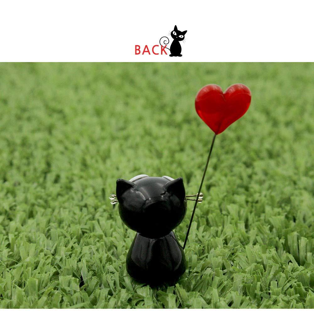 KAZALEE MALL Heart Black Cat Handmade Baby Cat Figure Miniature Glass