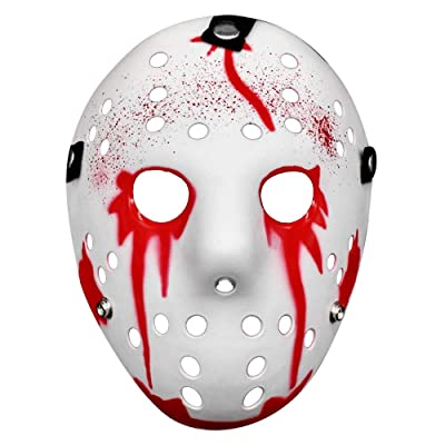 Horror Mask Thicken Freddy VS Jason Theme Mask Cosplay Horror Resin Cos Dress Up Street Dance Halloween Props (White): Clothing
