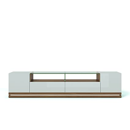 Manhattan Comfort Vanderbilt Collection Contemporary TV Stand for Flat Screen with LED Lights, 85.4