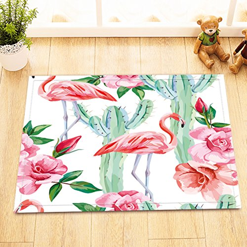 LB Red Flamingo Cactus Pink Rose Decor Small Bedroom Rugs, Safe Non Slip Backing Comfortable Soft Surface, Tropical Island Plant Flower Bath Rug 15 x 23 Inches