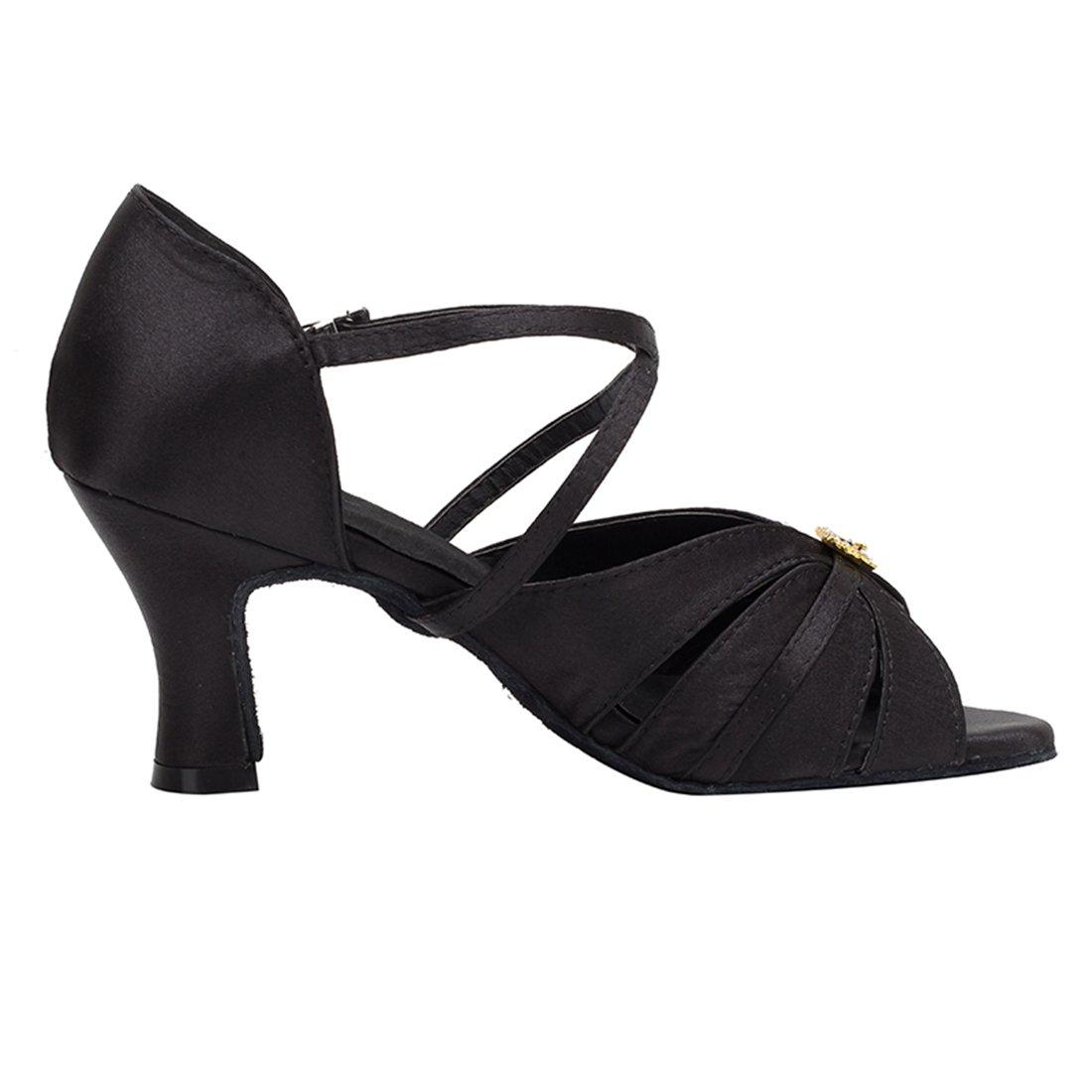Miyoopark Womens Cuban Heel Ankle Strap Satin Latin Ballroom Dance Shoes Prom Evening Sandals