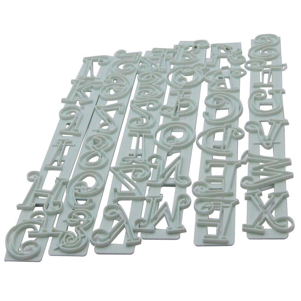 6pcs Alphabet Letters and Numbers Fondant Cake Cookie Cutter Embossing Decorating Tool Set Lcing Cutter Mold