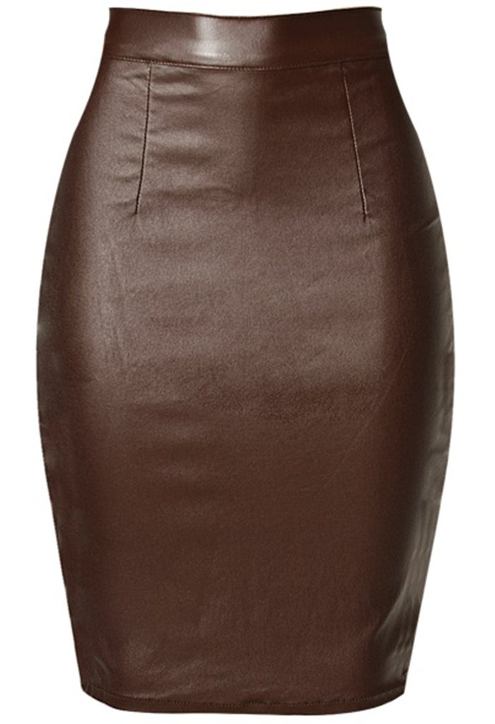 Womens Below The Knee Pencil Skirt Faux Leather Premium Stretch Office Pencil Skirt Brown XL 10