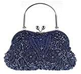 staychicfashion Vintage Floral Jewels Beaded Evening Purse Clutch Kissing Lock Metal Top-Handle Prom Party Bag(Navy)