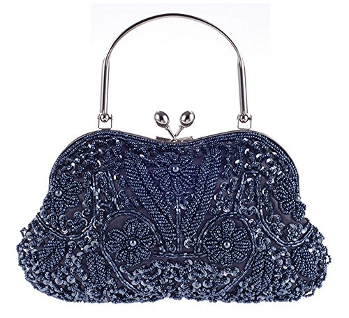 Beaded Evening Shoes (Vintage Floral Jewels Beaded Evening Purse Clutch Kissing Lock Metal Top-handle Prom Party Bag(Navy))