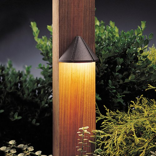 (Kichler Lighting 15065AZT Mini Deck Light 12-Volt Deck and Patio Light, Textured Architectural Bronze)