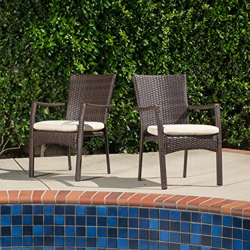 (Set of 2) Melba Outdoor Brown Wicker Dining Chair with Beige Cushion (Resin Wicker Dining Chairs)