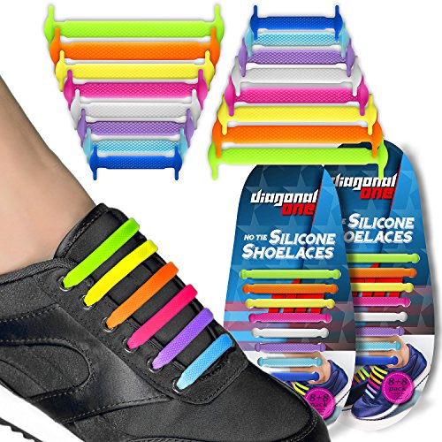 No Tie Shoelaces for Snickers, Converse, and Casual Footwear – 16 Slip On Tieless Elastic Silicone Shoe Laces for Adults, Kids, Teenagers, and Seniors