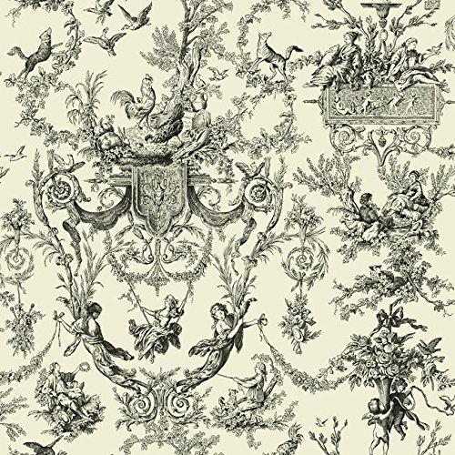 York Wallcoverings Black and White Chandelier Damask Removable Wallpaper, Ivory/Black