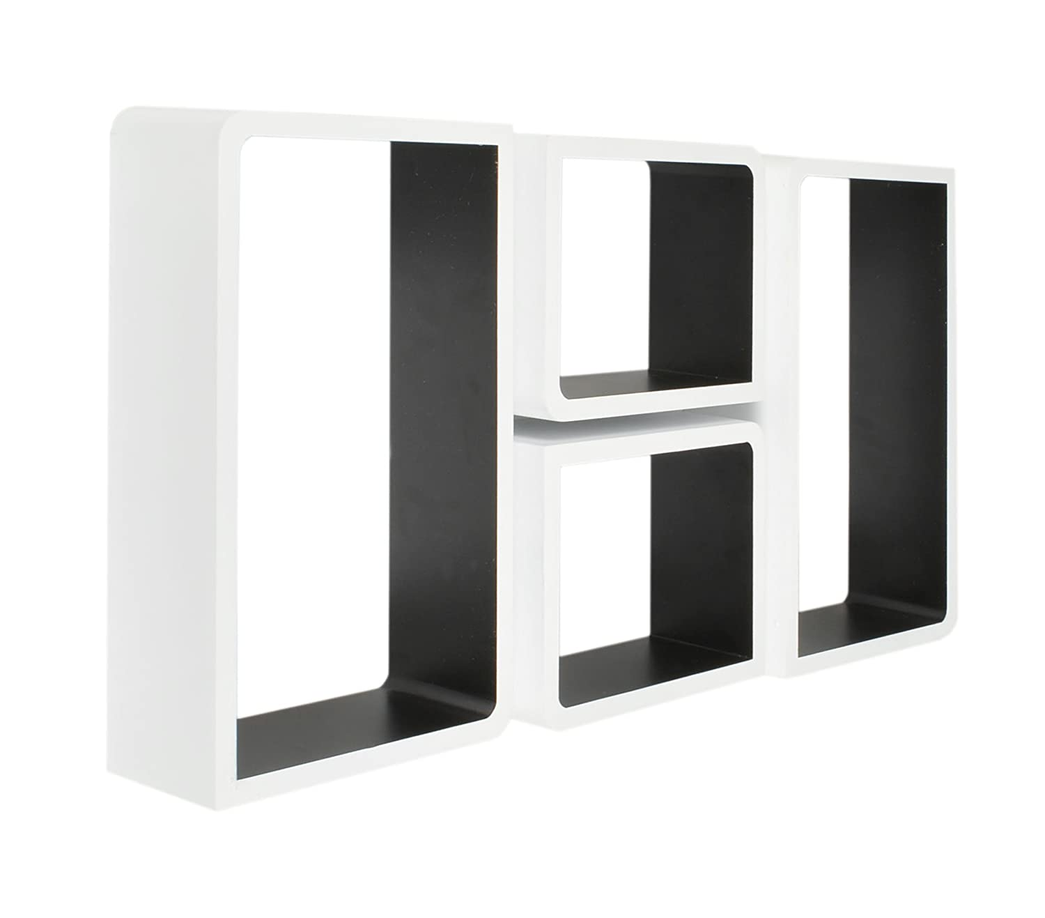 Set of 4 retro design lounge cube shelves white black retro set of 4 retro design lounge cube shelves white black retro designseventies wall mounted oblong 2 cubes with rounded and 2 cubes with rectangular amipublicfo Images