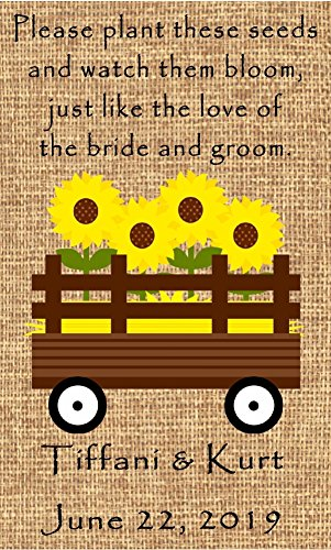 (Personalized Wedding Favor Wildflower Seed Packets Burlap Sunflower Wagon Design 6 verses to choose Set of 100)