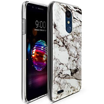 CLM-Tech Funda LG K11 / K10 2018, Silicona TPU Case Mármol Blanco Negro Carcasa para LG K11 / K10 2018 Cover