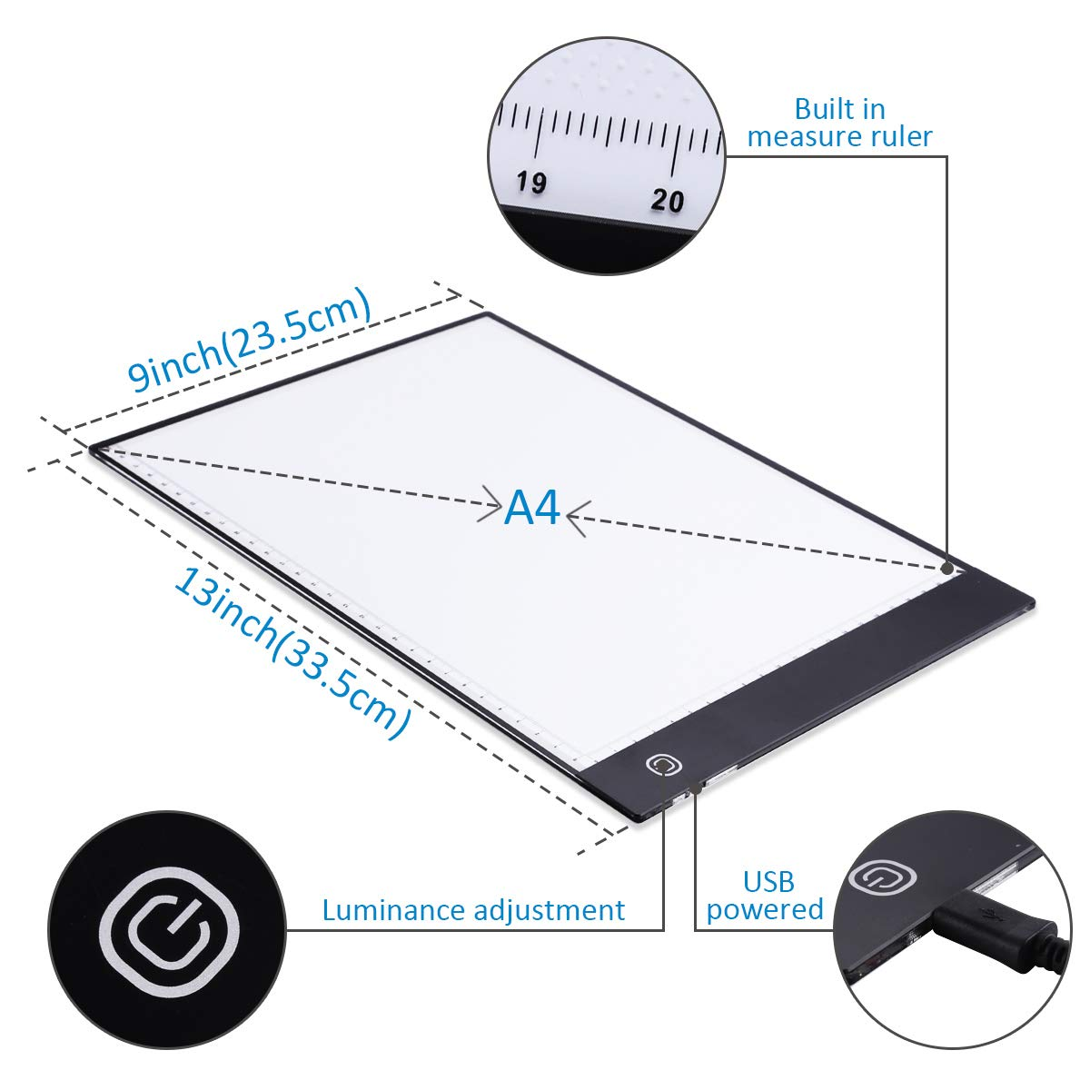 A4 LED Light Pad Light Board Tracing Light Box LED Light Tablet, Dimmable  Light Board Kit w/Diamond Painting Tools, Stand Holder and Clips, Apply to