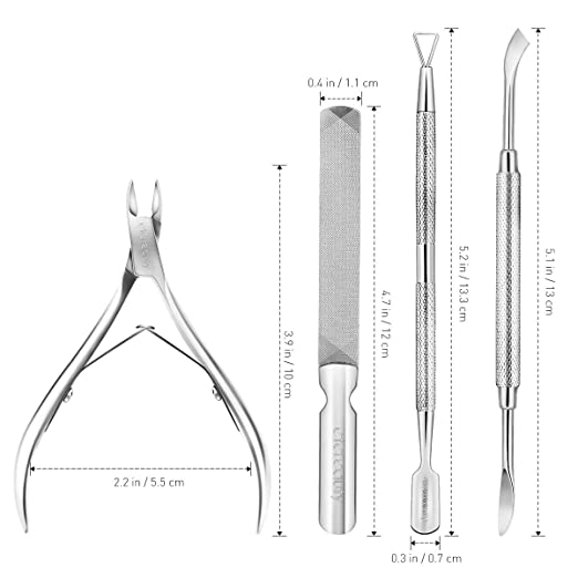 Cuticle Trimmer with Cuticle Pusher, ETEREAUTY 4 Pcs Cuticle Remover Grade Stainless Steel Cuticle N