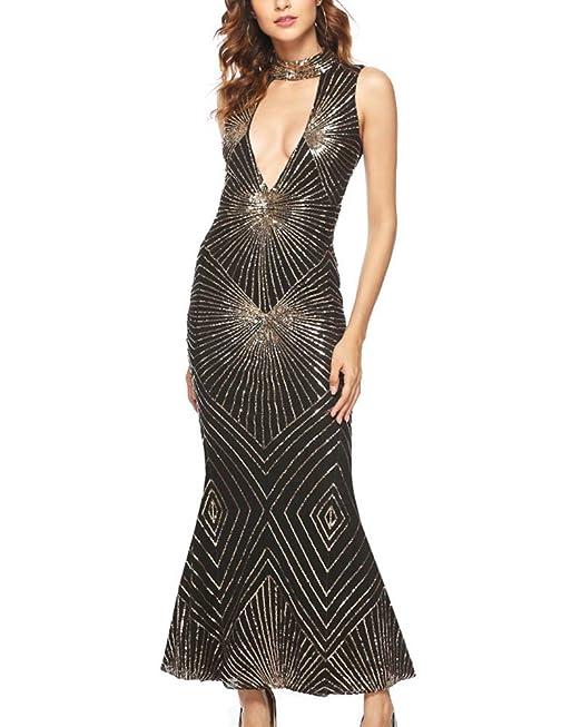 703f6a316a Mujer Lentejuelas Maxi Vestido Cóctel Fiesta Sexy Cuello V Boda Club Sirena  Bodycon Vestidos Negro Dorado