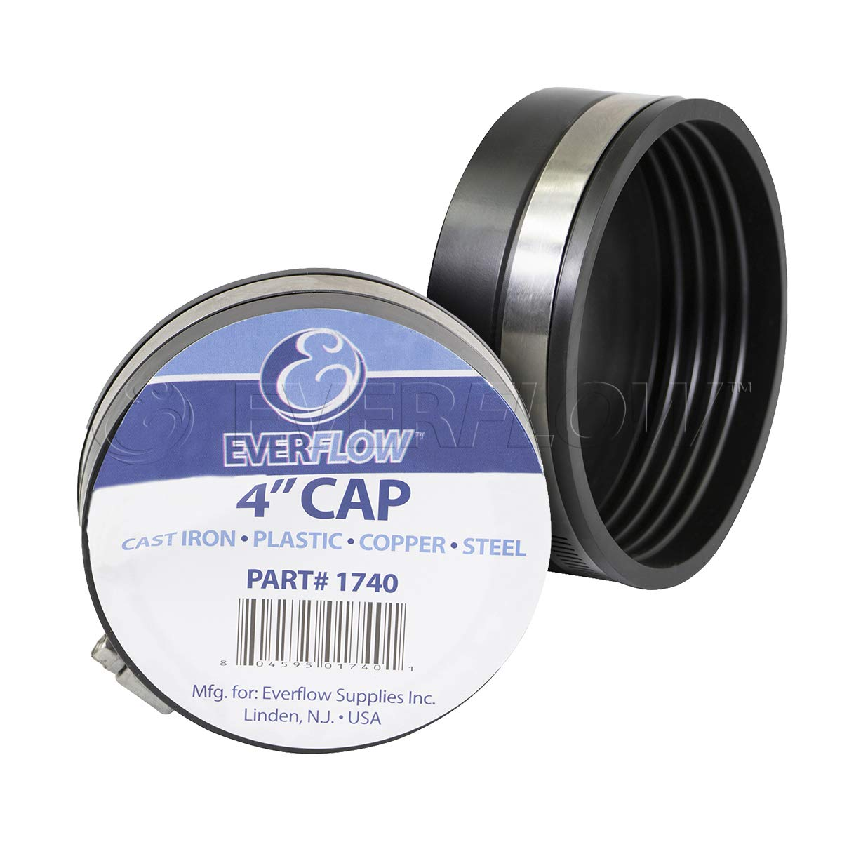 Everflow pack of 4 EVERCONNECT 1740x4 Flexible Pvc Pipe Cap with Stainless Steel Clamps 4 Inch Black