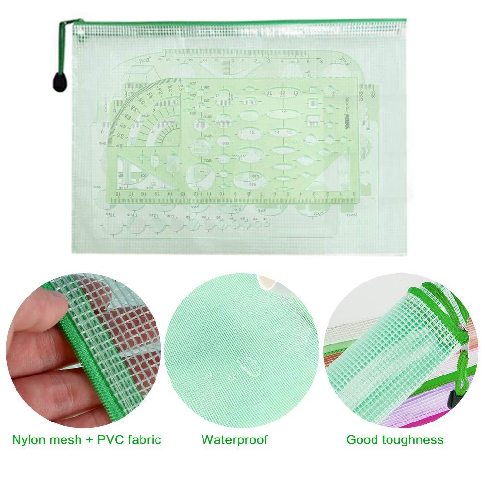 Modelli di Misurazione Verde Plastica Trasparente Disegno Geometrico Modello per la Misurazione Della Pittura Scuola Architetto Bambini 6 Pezzi con Sacchetto Zip A5 1 Pezzo Cerchiometro