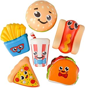 Kicko 3.75 Inch Slow Rising Squishy Fast Food Toys - 6 Piece Assorted Scented Simulation Tasty Decorations, Stress Reliever, Learning Tool, Perfect for Occasional, Party Favor and Bag Fillers