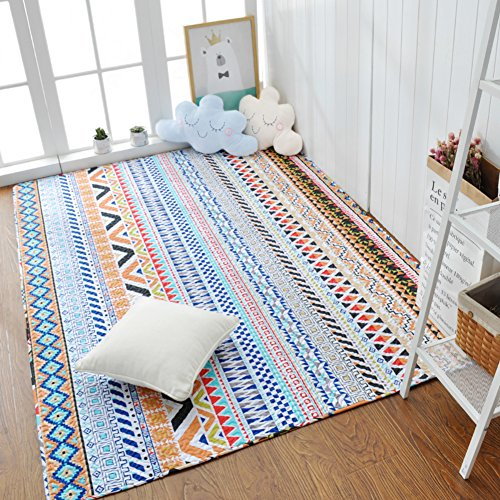 Decorative Rugs Modern Carpet Rectangle Cotton mats for Bedroom Living Room Simple Nordic Thicker Coffee Table Mattress Tatami Crawler pad Non-Slip Foldable Washable-B 110x210cm(43x83inch)